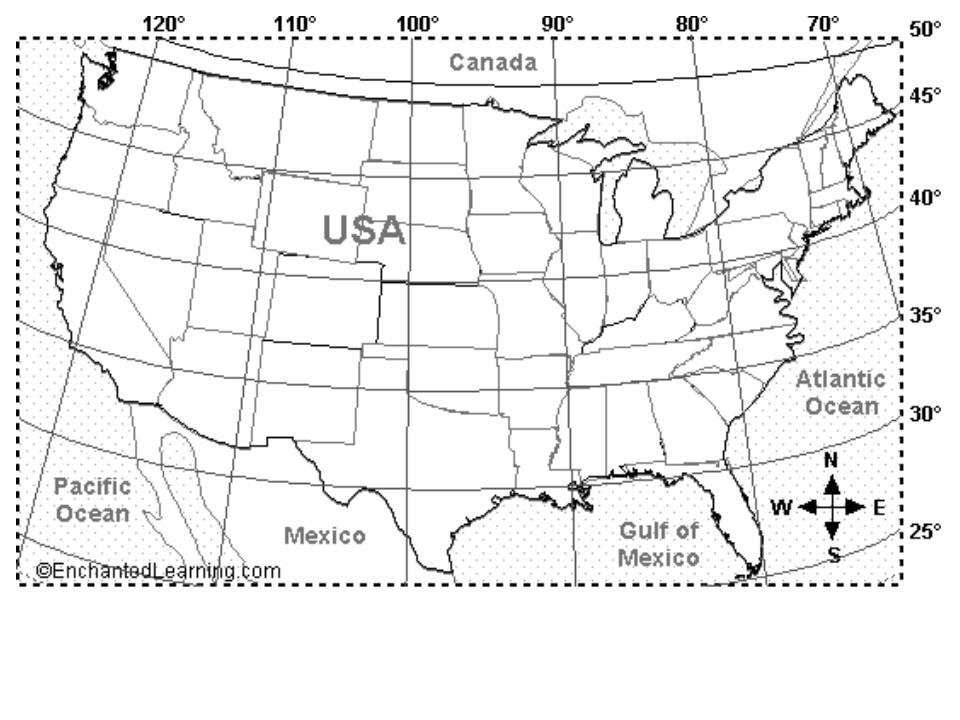 Climate Activity Ms Patten - Us longitude map